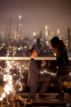 So classy and beautiful. Men should always dress in a suit when they propose!