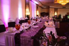 Wedding reception with purple theme in Tan-Tar-A Resort's Crystal Ballroom #LakeoftheOzarks #Missouri