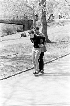 Couple skateboarding in Central Park, 1960s.  Bill Eppridge