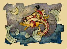 Mayan Boy and Fish by ~jessisamess on deviantART