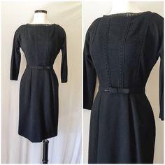 Vintage 50s Wool Long Sleeve Little Black Dress // 1950s vintage wool little black wiggle dress with pin tucks matching belt by Bloomfiled (scheduled via http://www.tailwindapp.com?utm_source=pinterest&utm_medium=twpin&utm_content=post16842338&utm_campaign=scheduler_attribution)