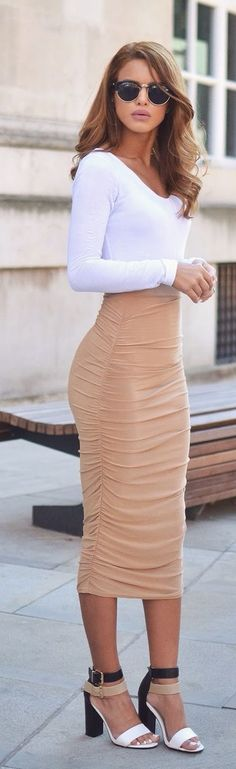 Love the Camel Slinky Skirt Chic Style <3....HATE the shoes. ..needs to be a higher heel n maybe in a nude color