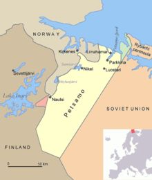 In the Moscow Peace Treaty Finland was forced to cede parts of her territory to the Soviet Union. Among these areas was Finnish part of the Rybachi peninsula (Kalastajasaarento) in the extreme north of Petsamo. The Soviet Union would take the whole Petsamo area after the Continuation War.The red area is Jäniskoski, which was sold to the Soviet Union in 1947. Kirkenes, Soviet Union, World War Two, Russia, Articles, Peace, Winter, Red, Maps