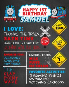 First Birthday Chalkboard Thomas the Train by FaithFamilyFunDesign