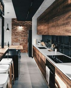 Wood grain detail and concrete countertops