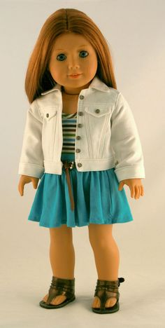 American Girl Doll Clothes - White Jean Jacket, Striped Tee, Turquoise Knit Skirt, and Leather Belt