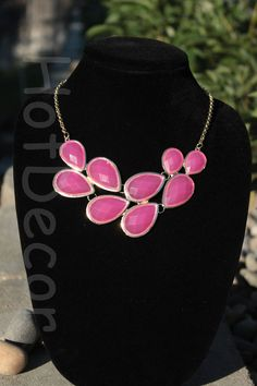 Jewelry Bubble Necklace Teardrop hot pink Statement by HotDecor, $12.99