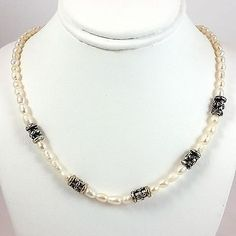 Baroque Pearl Necklace Napier Vintage 19in White Silver Tone Princess Length n312