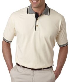 UltraClub 8537 Men's Color-Body Classic Pique Multi-Stripe Trim Polo Shirt #UltraClub #PoloRugby