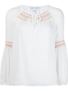 embroidered neck blouse
