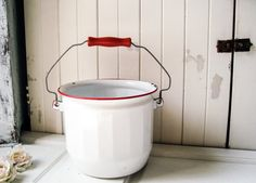 Vintage Enamel Pot, White and Red Metal Cooking Pot with Handle, Rustic Farmhouse Pot, French Farmhouse, Country Cottage Chic Kitchen Decor   etsy.com
