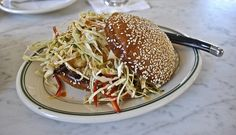 gulf flounder sandwich with slaw and jalapeño aioli at Hard Water in San Francisco