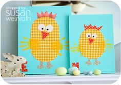 Easter handprint craft - I like the scrapbook paper instead of just plain yellow. Have also seen where you use orange footprints for the chick's feet...