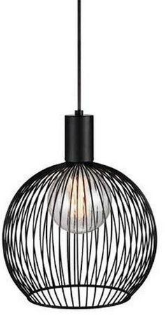 Hanglamp/draadlamp FERDUS zwart Ø23xH28cm incl.LED lamp