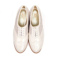 Albi - Cream Brogue by beyond skin Made in Spain, vegan, oxford shoes, cream, off white, nude, flats