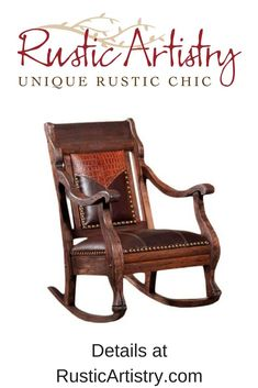 The Vintage Rocker features a hand carved solid oak frame with distressed markings, giving this rocker a vintage look. The yoke on the seat back is upholstered with embossed tobacco leather, and the seat cushion has chocolate brown leather and brass nail head trim. https://rusticartistry.com/product/vintage-rocker/ #rustic #rusticartistry #western #westerndecor #mancave #home #furniture #leather
