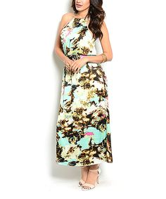 Another great find on #zulily! Mint & Yellow Abstract Maxi Dress by Buy in America #zulilyfinds