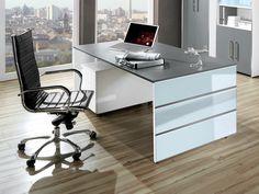 Schreibtisch Kerkmann Lugano 4516 Mit Einem Glasverblendeten Wangengestell.  Tischplatte Melaminharzbeschichtet. Glasapplikationen Mit Edelstahlstreifen.