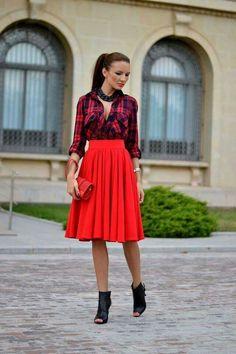 Plaid shirt and red skirt