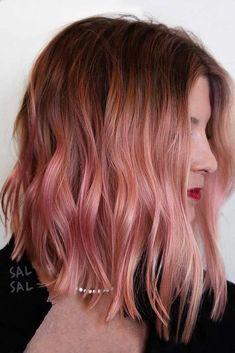 50 Popular Pink and Pink Gold Hair Shades for 2018 - Medium Hair Styles Inverted Bob Haircuts, Medium Bob Hairstyles, Hairstyles Haircuts, Cabelo Rose Gold, Medium Hair Styles, Short Hair Styles, Hair Shades, Haircut And Color, Stylish Hair