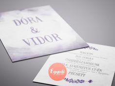Elegáns lila-fehér esküvői meghívó levendulával és vízfesték hatással | Elegant wedding invitation with lavender and watercolor effect
