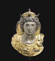 A ROMAN PARCEL GILT SILVER EMBLEMA OF CLEOPATRA SELENE CIRCA LATE 1ST CENTURY B.C.-EARLY 1ST CENTURY A.D.