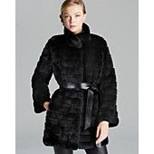 Maximilian Rex Rabbit Fur Coat with Leather Belt-Bloomingdales.com