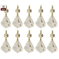 RoyalDesigns 10 Pack Chandelier Replacement Crystal Prisms French Maple Leaf Clear Finish: