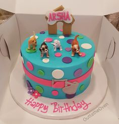 7th Birthday Cakes, 1st Birthday Party Themes, Puppy Birthday, Birthday Cookies, Birthday Ideas, Dog Cakes, Girl Cakes, Birhday Cake, Aniversary Cakes