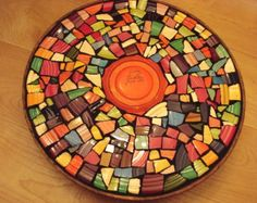 Mosaic Tile Table Metropolitan Funky Art Deco Fiesta by cocomo Mosaic Tile Table, Tile Tables, Lazy Susan, Fiesta Ware Colors, Funky Art, Amber Stone, Bunt, Orange Color, Art Deco