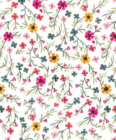 sweet blossoms print by melissa kelman at papier fabrik L Wallpaper, Flower Wallpaper, Pattern Wallpaper, Wallpaper Backgrounds, Surface Pattern Design, Pattern Art, Motif Floral, Floral Prints, Ditsy Floral