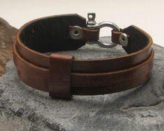 Bracelet en cuir pour hommes livraison EXPRESS. Brun bracelet manchette en cuir hommes avec fermoir en argent plaqué omega