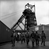 G.B. WALES. Tower Collery. Miners leave pithead after a shift underground. 1996.