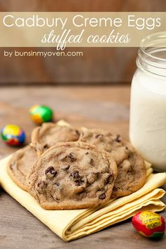Cadbury Creme Egg Stuffed Chocolate Chip Cookies - fun and EASY! from bunsinmyoven.com