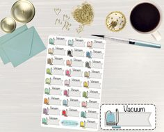 Pinning so I don't forget!! Remember to go back and check out Crafted By Corley on Etsy. Vacuum Colorful Stickers - Vacuum Stickers Vacuum Planner Vacuum Day Erin Condren Life Planner Stickers Vacuum Flags Cleaning Stickers by CraftedByCorley