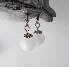 Boucles oreille perles polaris blanches / mariage / fête / cadeau : Boucles d'oreille par perlaperles