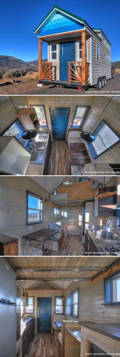 Named the Ol' Berthoud Blue, this 24' tiny house has a unique entryway with its gradient blue shingles, blue door, and porch rails with sunburst pattern.