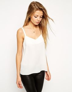 Image 1 of ASOS Woven Cami Top With Double Straps