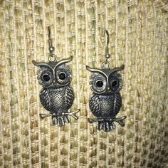 Owl Earrings! Owl earrings. Silver and black. Jewelry Earrings