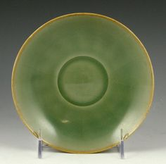 """Chinese Celadon Green Longquan Plate flower-shaped, 16th century or later, 6 1/4"""" dia."""