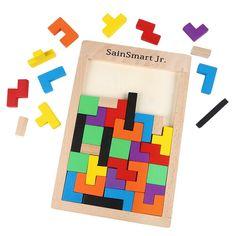Puzzle Tangram Jigsaw Wooden Tetris Puzzle 40 PCS - SainSmart Jr.
