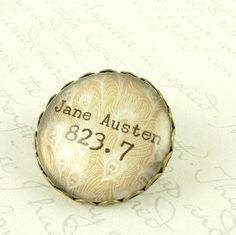 Jane Austen Pin Brooch - Melvil Decimal System Library Classification - Literary Book Accessory