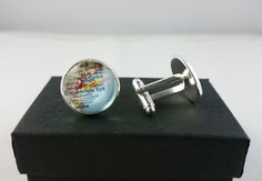 Custom New York Map Cufflinks Mens Cufflinks by YourOccasionGifts Map Of New York, Hemp Jewelry, Beaded Jewelry, Custom Map, Gifts For Father, Little Gifts, Special Gifts, Clear Glass, Bead Jewelry