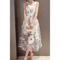 Sweet Jewel Neck Sleeveless Organza Floral Dress For Women