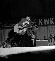 Elvis on stage at the Louisianna Hayride december 15 1956.