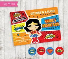 Wonder Woman invitation Invitación Mujer por CreativaDesignCo
