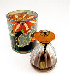 1920s Depinoix, Elizabeth Arden-Paris Poppye perfume bottle - clear/frost glass, enameled stopper, sealed, label, box. 3 1/8 in.