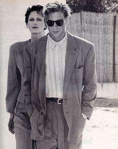 fashion outfits costumes style periodicult: Giorgio Armani, Los Angeles magazine, April Photograph by Aldo Fallai. 80s Fashion Men, Suit Fashion, Look Fashion, Retro Fashion, Fashion Outfits, Vintage Fashion, Stylish Outfits, Armani Suits, Armani Men