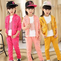 39.32$  Buy now - http://ali1kd.shopchina.info/go.php?t=32800536114 - Children's Garment Girl Autumn Clothing Suit New Pattern Children Three-piece Autumn Girl 3 Pieces Kids Clothing Sets Suits 39.32$ #buymethat