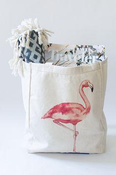 Original Water Color Flamingo // One Eleven Studio . . . #flamingo #beachtote #summer